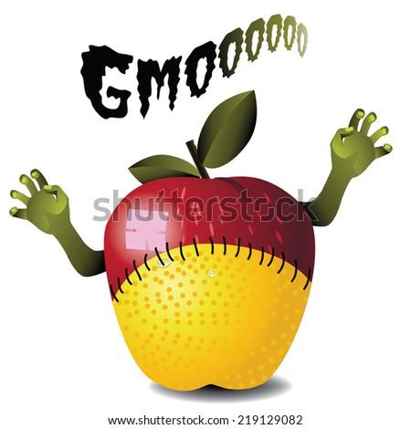 GMO zombie apple lemon monster  - stock photo
