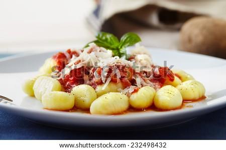 Gnocchi pasta with tomato sauce - stock photo