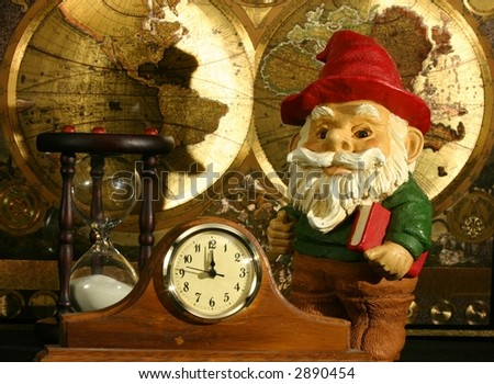 Gnome book world map hourglass clock stock photo royalty free gnome with book world map hourglass and clock gumiabroncs Image collections