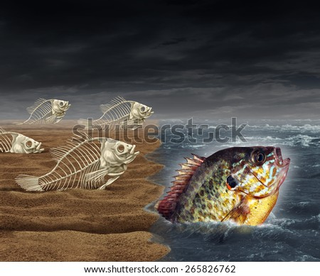 Go all the way survival success as a surreal business metaphor for thinning the herd or best of breed symbol as a group of failed dead fish skeletons to get to the ocean and one successful survivor. - stock photo