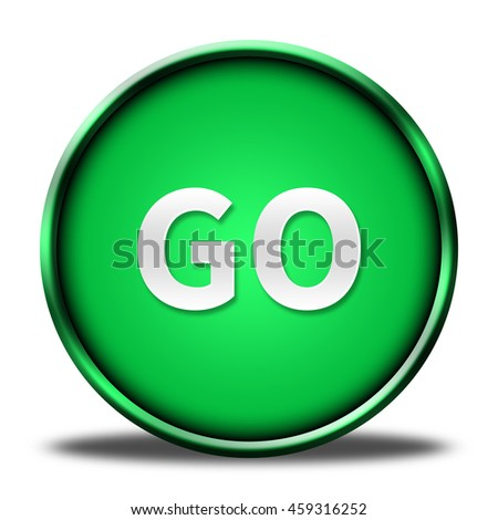 go button isolated. 3D illustration  - stock photo