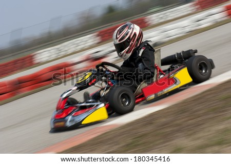 Go cart driving fast - stock photo