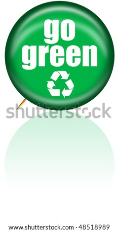 Go Green Button with Recycle Symbol - stock photo