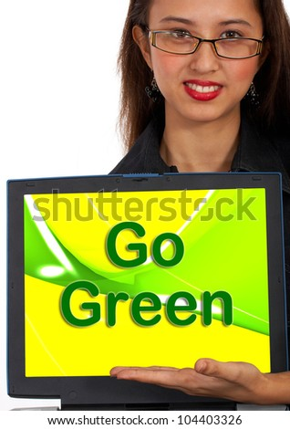 Go Green Computer Message As Symbol For Eco friendly Or Recycling - stock photo