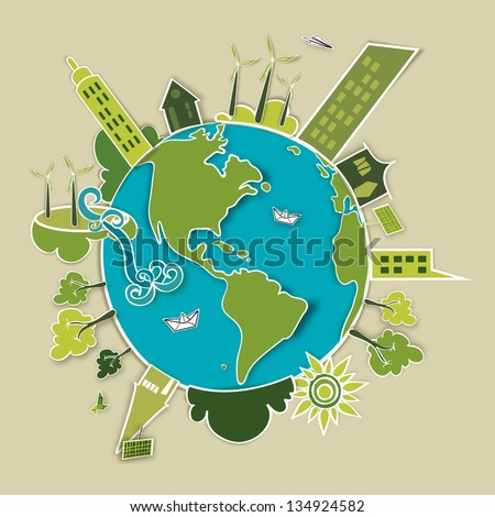 Go green concept world. Industry sustainable development with environmental conservation Globe.