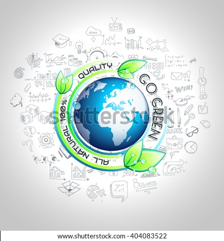 Go Green Conceptual background with hand drawn infographic sketches  - stock photo