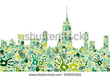 Go green crowd human hands icons in city skyline composition isolated over white. - stock photo