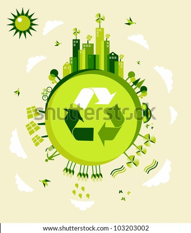 Go green Earth globe background illustration. Global sustainable development with environmental conservation.