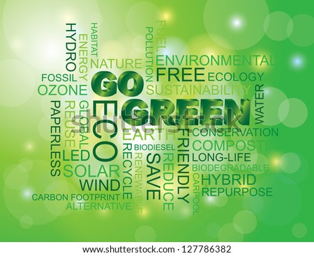 Go Green Eco Word Cloud Illustration Isolated on Green Bokeh Background Raster Vector - stock photo