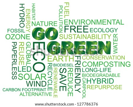 Go Green Eco Word Cloud Illustration Isolated on White Background Raster Vector - stock photo