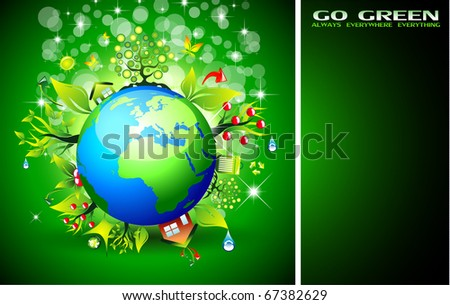 Go Green Ecology Background for Environmental Respect Posters - stock photo