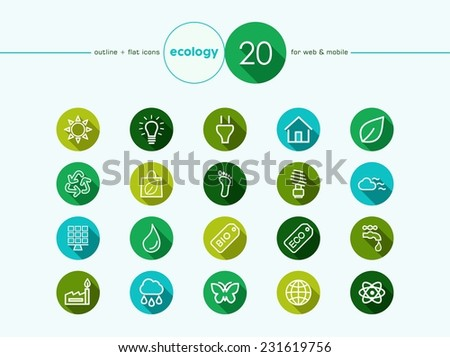 Go green environment and ecology outline flat icons set for web and mobile app. - stock photo