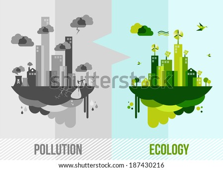 Go green environment illustration. Ecology and pollution city concept. - stock photo
