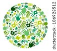 Go green human hands icons in circle composition background. - stock vector