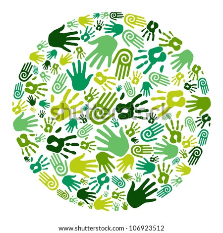 Go green human hands icons in circle composition background. - stock photo