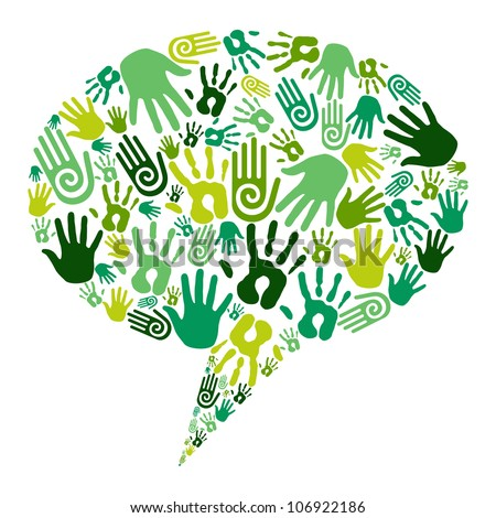 Go green human hands icons in social media bubble composition isolated over white. - stock photo