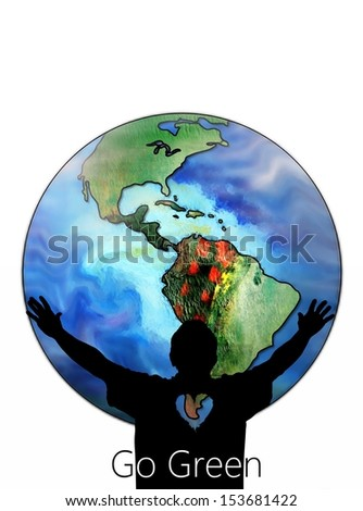 Go Green Illustration of a Man Hugging the World - stock photo