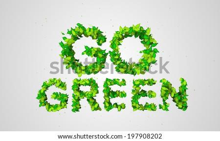 Go Green Leaf Particles 3D - digital art - stock photo