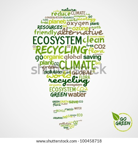 Go Green. Light bulb with words cloud about environmental conservation.