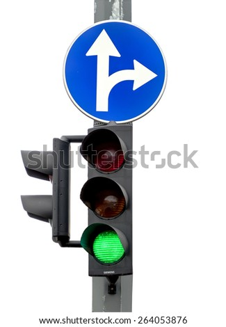 Go! Green light, Traffic lights isolated on white background - stock photo