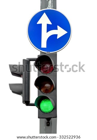 Go! Green light, Traffic lights isolated on white background