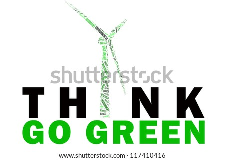 Go green promotion with environmental sustainability word collage - stock photo