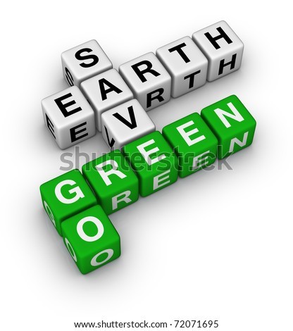 Go Green, Save Earth crossword - stock photo