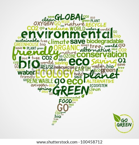 Go Green.  Social media speech with words cloud about environmental conservation.