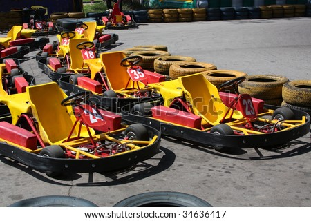 Go kart in the pits ready to race