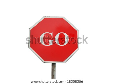 Go sign isolated on white - stock photo
