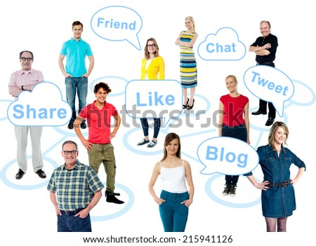 Go social. Like, share, tweet your thoughts - stock photo