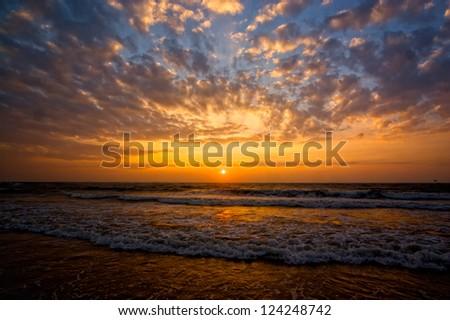 Goa beach sunset - stock photo