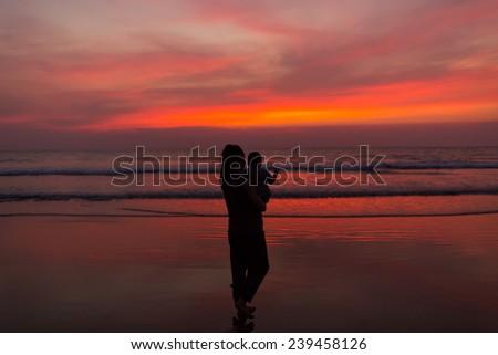 Goa beach sunset.Twilight - stock photo