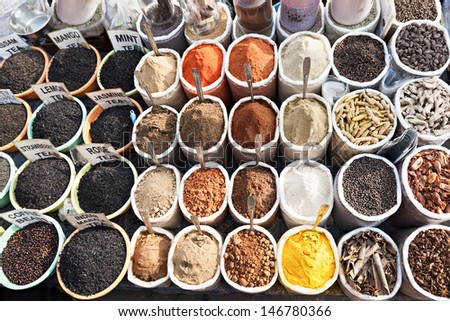 GOA, INDIA - APRIL 06: Spicies on Goa market on April 06, 2012, Goa, India. - stock photo