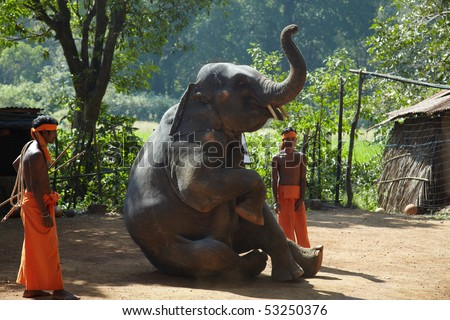 GOA, INDIA - DECEMBER 15: Two animal trainers with elephant on an elephants show at  December 15, 2009 in Goa, India. Elephants show is a main attraction for tourists in this region. - stock photo