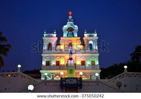 GOA, INDIA - FEBRUARY 4 2016: Church of Our Lady of the Immaculate Conception was built in 1619 over an older, smaller 1540 chapel and it is dedicated to Mary Immaculate.