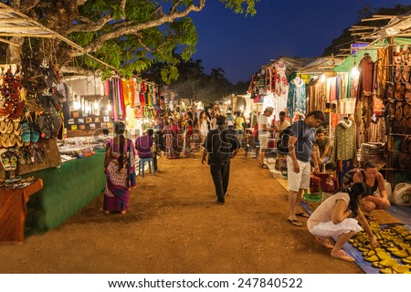 GOA, INDIA - FEBRUARY 22: Goa Night Market on February 22, 2014, Goa, India - stock photo