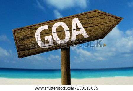 Goa, India wooden sign with a beach on background - stock photo