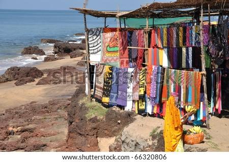 Goa traveling: Famous hippie flee market in Anjuna beach goa India - stock photo