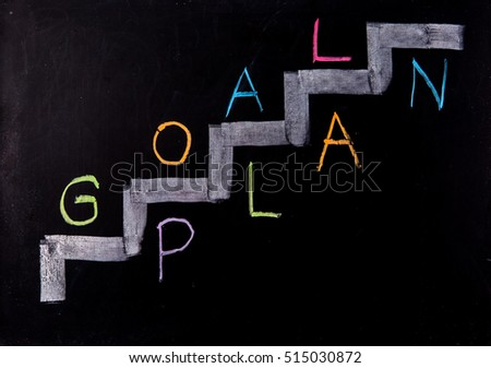 goal and plan concept on blackboard