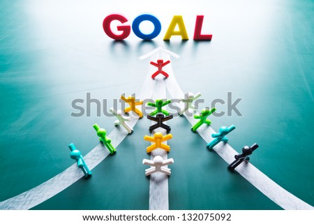 Goal and Teamwork concept, group of people with the same goal - stock photo
