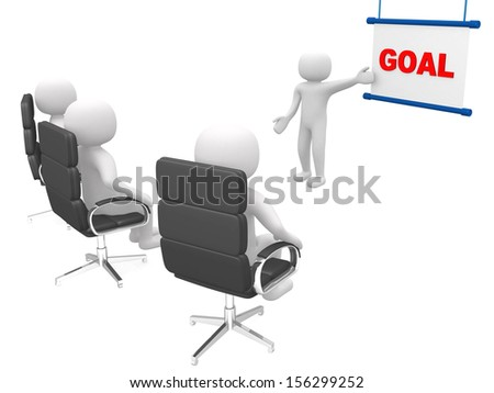 Goal concept.Isolated on white background.3d rendered.  - stock photo