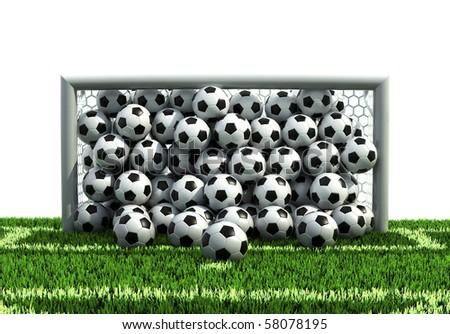 goal full of soccer balls on the football field - stock photo