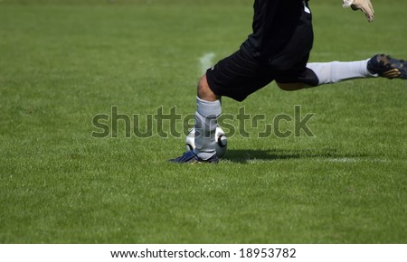 Goal-keeper starting a game - stock photo