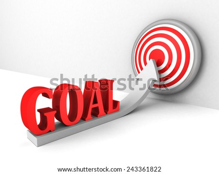 goal rising up arrow to success target center.concept 3d render illustration - stock photo