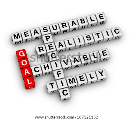 goal setting cubes crossword puzzle - stock photo