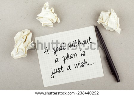 Goal Without a Plan is Just a Wish / Inspirational Motivational Quote Advice Phrase - stock photo