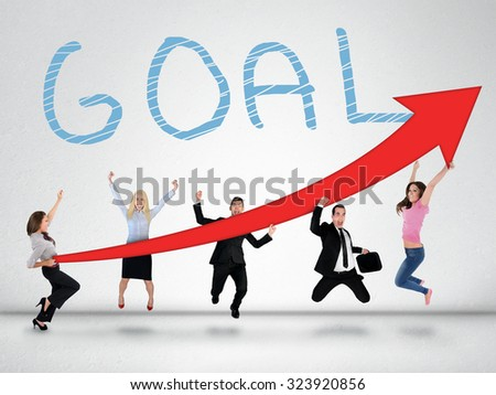 Goal word and arrow report growth statistics - stock photo