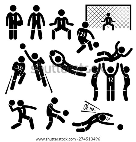 Goalkeeper Actions Football Soccer Stick Figure Pictogram Icons - stock photo