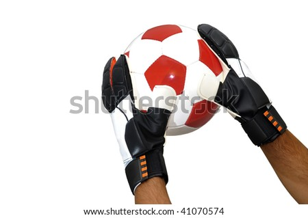 Goalkeeper hands with soccer ball isolated in white - stock photo